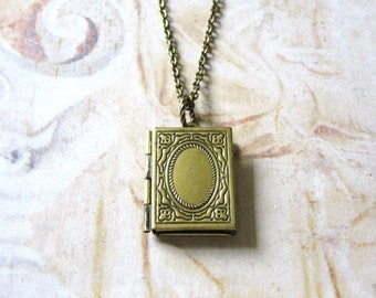 Bookish - Antiqued Brass Book Locket Handmade Necklace - Gift Box