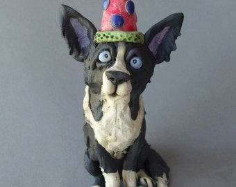 Border Collie Dog Ready to Party Sculpture