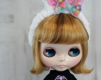 "Blythe Headband, Bunny Ears, White Rabbit Ears, Hair Accessory - 10-11"" head - Doll Clothes"