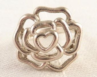 Vintage Size 6.5 Openwork Sterling Flower Ring