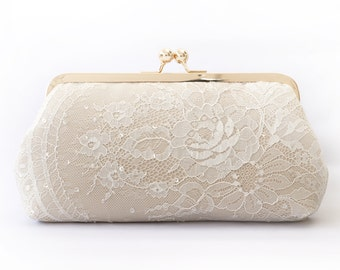 Champagne and Ivory French Sequins Lace Bridal Clutch   Wedding Gift