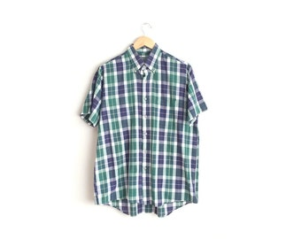 Size L // PLAID BUTTON-UP // Short Sleeve - Button-Down Shirt - Vintage '80s - Men's.