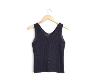 Size XXS/XS // KNIT Tank // Black Sleeveless Top - Button-Front - Sleeveless - Fitted - Vintage.