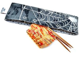 Stitch Holder Point Protector Zipper Pouch Needle Nook - DPN and Circular Project Holder - Warning May Contain Spiders!