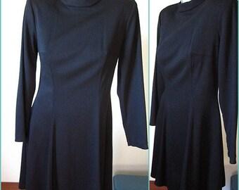 Vintage 70s Long Sleeved Little Black Dress Size 9 / 10