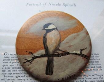 Vintage Hand Painted Bird on Wood