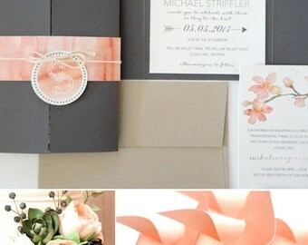 SAMPLE - Peachy Blossoms Watercolor Wedding Invitation Set (Pewter Gate Fold)