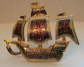 Ship Pin, Boat pin, Vintage Ship Brooch, Spanish Galleon Ship Brooch, Spain, Galleon Pin, Spanish Brooch