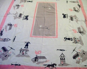 Vintage Tablecloth, Retro Tablecloth, Kitchen Linen, 1950's Kitchen Linen, Vintage Kitchen, Weathervane, Buildings, Pink and Gray