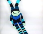 Aqua Blue Striped Sock Bunny