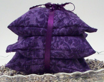 "Lavender Sachets - Purple Boho Vines - Drawer Freshener - Aromatherapy Lavendar Sachet Bags - Set of 3 - 3 3/4"" x 3 3/4"" - Home Decor"