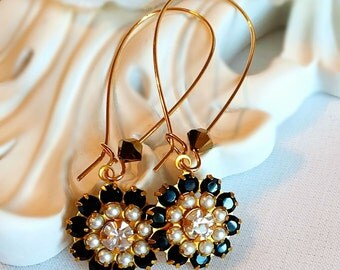 Affordable Christmas Gifts - Black and White Flower Earrings - Romantic - Victorian Earrings - FIORE Black Tie