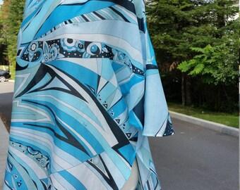 Tunique manches 3/4, coton et soie très léger, imprimé ''Pucci'', taille unique