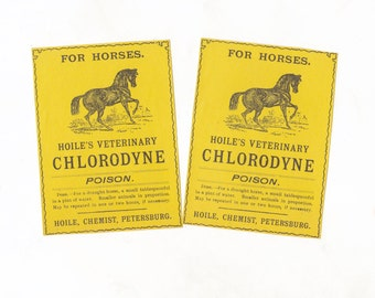 Vintage Australian Chemist Labels | For Horses | Veterinary Pharmacy Medicine Bottle Labels | Apothecary | Lot of 2 Australian Ephemera