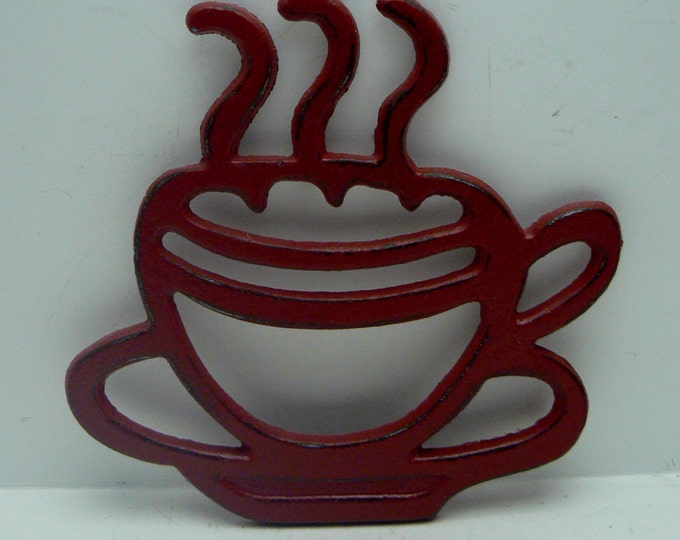 Cast Iron Coffee Cup Trivet Red Shabby Chic Tea Cup Kitchen Hot Plate Home Decor