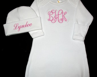 Monogram Font 1 and 3 - Custom Personalized 3 INITIAL Monogram and NAME Infant Gown and Hat Set - You Choose Thread Color