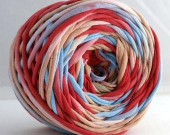 Hand Dyed T shirt Yarn 60 yards- Aqua/Red/Tan