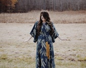 Sonia Robe Dress - Kimono Robe Dress- Cobalt and Metallic Gold - American Milled Fabric - by Simka Sol®