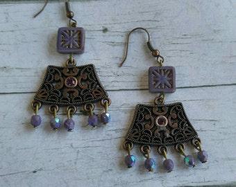 Purple Bohemian Ornate Gypsy Chandelier Earrings// Antique Copper & Swarovski Crystal Hippie Dangle Beaded Earrings// Bohemian Jewelry