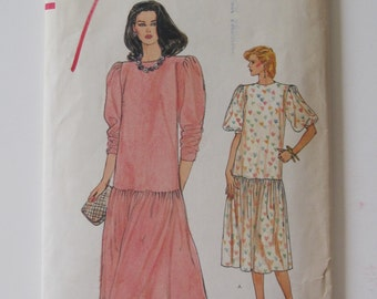 Very Easy Vogue 8585 Vintage 1980s Drop-Waist Dress Pattern