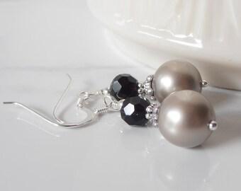 Weddings Jewelry Earrings Bridesmaid Earrings Beaded Earrings Dangle Earrings  Platinum Swarovski Pearl Earrings Champagne and Black