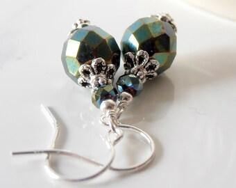Dark green dangle earrings, Forest green bridesmaid earings, Dragon scale metallic bead jewelry