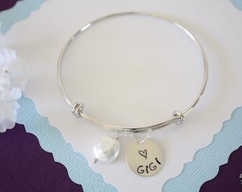 Bangle Gigi Bracelet Silver, Pearl, Expandable, Sterling Silver, Mother Bracelet, Grandma Charm, Friendship, Monogram Bracelet, BFF