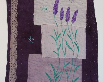 """Embroidered Textile Art Wall Hanging  """"Dragonflies"""" - naturally dyed textil, hand embroidery. OOAK."""