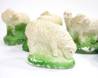 Vintage Chalkware SHEEP | White Lamb Ewe | Creche Animal | Shabby Cottage | Christmas Figure | Mid Century | Holiday Home Decor