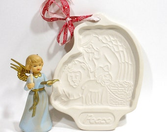 1993 Vintage PEACE Angel Lion Lamb Longaberger Pottery Cookie Mold Kitchen Decor Tool Baking Supply Gift Under Ten PeachyChicBoutique