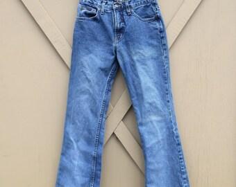 90s vintage L.E.I. High Waist Faded Dark Wash Denim Flare Jeans