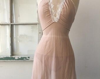 Spring Fling Mauve Silk Chiffon and Lace Lingerie Slip