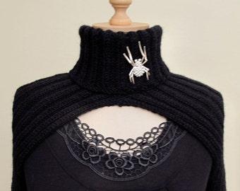 Hand Knitted Black Turtleneck Shrug