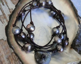 GREY PEARLS  and LEATHER Necklace, boho, tribal, yoga
