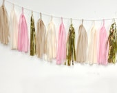 DIY Tassel Garland Kit  - Blush Pink, Cream, Champagne, Mylar Gold, Wedding Tissue Paper, Tassle Decor, Wedding Balloon Tails