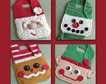 Crochet pattern Baby Bib Set Santa Gingerbread Snowman Elf Drool Spit Bib for Christmas babies and toddlers shower gift INSTANT pdf DOWNLOAD