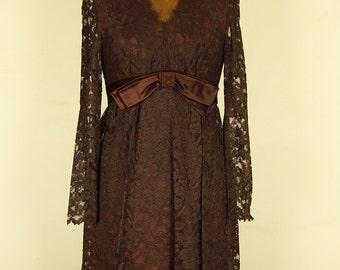 Vintage 1960s Brown Lace Cocktail Dress, XS
