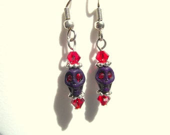 Petite Purple Skull with Red Eyes Earring Day of the Dead Dia de los Muertos Calavera Halloween Earrings