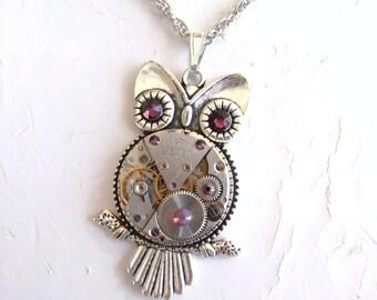 Steampunk Amethyst Rhinestone Vintage Watch Movement Necklace