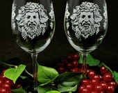 NEW!  2 Vineyard Wedding Wine Glasses, Etched Glass Dionysus God of Wine, Winery Wedding Gift for Couple