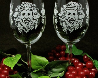 2 Bacchus Wine Glasses, Etched Glass Roman God of Wine, Wine Lovers Gift for Couple