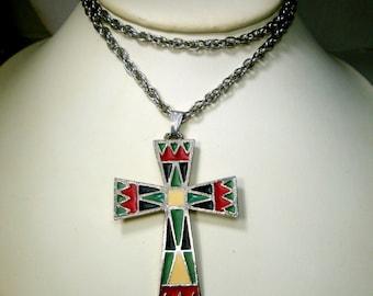 Christian Cross Pendant, Native American Enamel, Red Green Black Cream Colors on Silver Chain, Religious SouthWestern Tribal Classic, 1970s