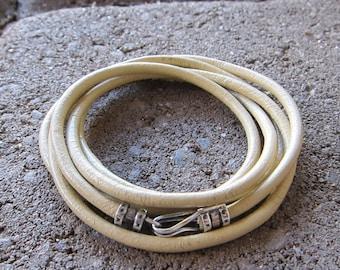 Creamy Beige Leather Wrap Bracelet (3MM)-5X