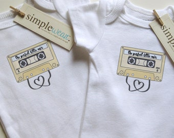 the perfect little mix (side A & side B) baby bodysuits for twins