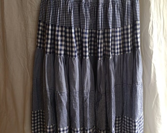 Rockabilly Skirt Blue and White Gingham