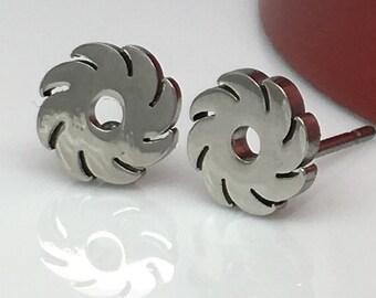 Modified blade wheel stud earrings, men's earrings, stainless steel earrings, men's stud earrings, cartilage earring, small earrings, 428A