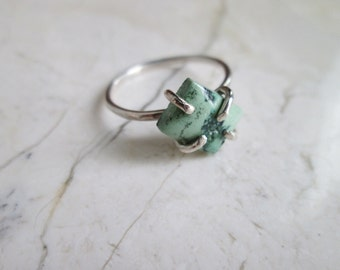 Turquoise Prong Set Ring. Sterling Silver. Pale green Turquoise. Small Minimal Ring. Stacking Rings. Sterling Silver. Sz 6 25. OOAK