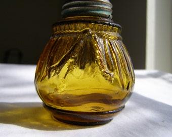SALE -- Cord and Pleat Amber Glass Salt Shaker