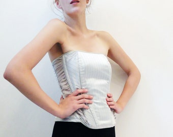 Siver Grey Satin Overbust Corset With Gathered Side Panel