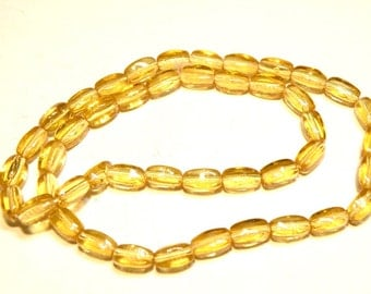 "20% OFF  - 12"" Strand Amber Barrel Glass Beads -- Lot 3A"